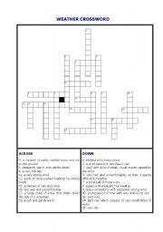 English Worksheet: Weather Crossword