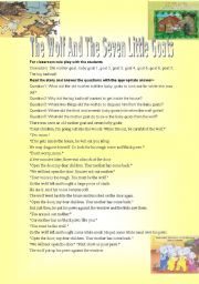 English Worksheets: The Wolf and the Seven Little Goats