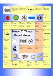 English Worksheet: Board Game - Name 7 Things (Hard)