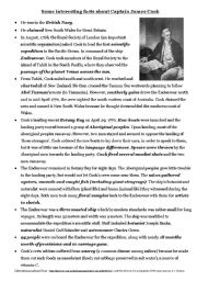 English Worksheets: Captain Cook Overview