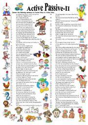 English Worksheet: Active Passive 101 sentences (Answer Key)