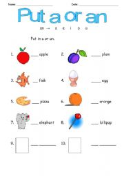 a/an - ESL worksheet by urieth
