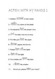 English Worksheets: Action with my hands 1