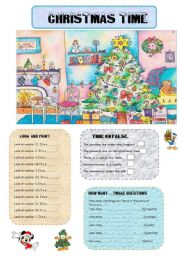 English Worksheet: CHRISTMAS TIME (Review: christmas vocabulary,how many...,)