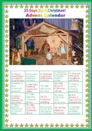 English Worksheet: Editable Advent calendar