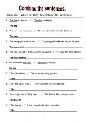 English Worksheets: Combine the sentences. ( Which, Who & That)