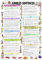 JUMBLED SENTENCES WITH ANSWER KEY - ESL worksheet by vikral