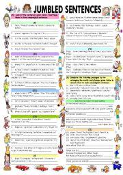 English Worksheet: JUMBLED SENTENCES WITH ANSWER KEY