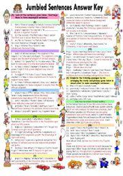 English Worksheet: JUMBLED SENTENCES ANSWER KEY