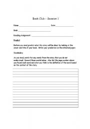 English Worksheets: Book Club - Session 1