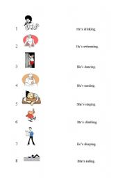 English Worksheets: matching pictures with sentences