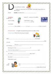 English Worksheets: Dear penfriend n�2