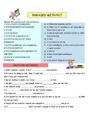 English Worksheets: Phrases with put