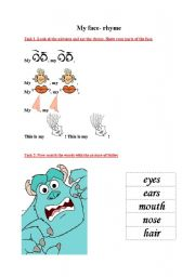 English Worksheets: My face rhyme