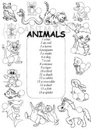 English Worksheets: Animals - matching