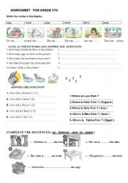 English Worksheets: worksheet for 5th grades