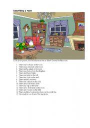English Worksheet: Describing a living room