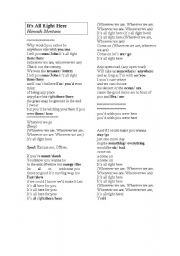English Worksheet: Song: It�s All Right Here  by Hannah Montana