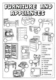 English Worksheet: FURNITURE AND APPLIANCES WORKSHEET!!
