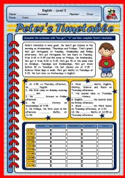 English Worksheets: PETER�S TIMETABLE