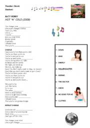 English Worksheet: Kate Perry - Hot and Cold song