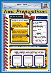 English Worksheets: TIME PREPOSITIONS