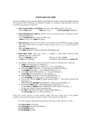 English Worksheets: ACTION & STATE VERBS
