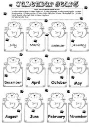English Worksheet: TEDDY CALENDAR
