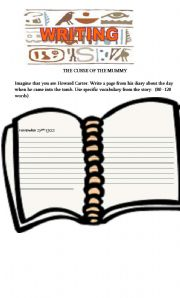 English Worksheet: THE CURSE OF THE MUMMY- PART 2-WRITING PAPER