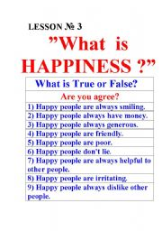 English Worksheets: What is Happiness? Choose correct answers.