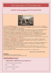 English Worksheet: LEARNING  PAST SIMPLE THROUGH THE TRUE STORY OF POCAHONTAS - CHAPTER 5: THE WEDDING OF POCAHONTAS