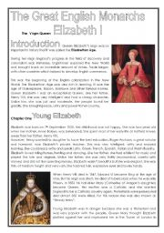 Queen Elizabeth I (2nd part of history series - four pages)