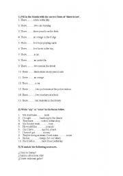 English worksheet: 1ESO worksheet/exam