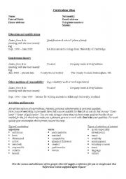 english worksheets cv layout - Cv Layout For Teenagers