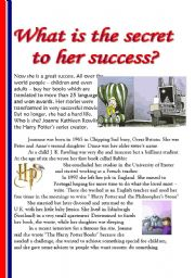 English Worksheets: What is the secret of her success?