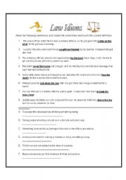 Printables Criminal Law Worksheets english teaching worksheets law and justice idioms