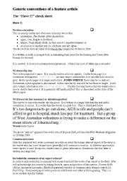 English Worksheets: Feature Article Checklist