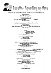 English Worksheets: Spending my time - Roxette