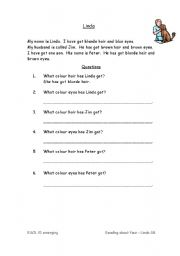 English Worksheets: Reading about my face