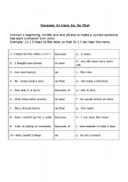 English Worksheets: Because, In Case, So, So That