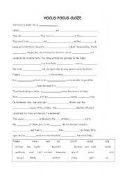 English worksheet: Hocus Pocus cloze
