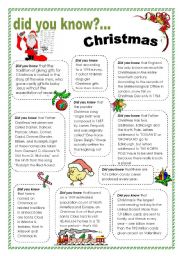 English Worksheet: Did you know - Christmas
