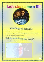 English Worksheets: Video time_GATTACA (Extract # 1): COMPREHENSIVE PROJECT (14PAGES, 40 TASKS) ( Complete ANSWER KEY)