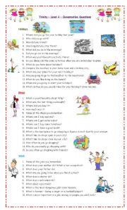 English Worksheet: Conversations Questions for Trinity level 4