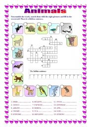 English Worksheets: Animals - crossword (B&W version included)