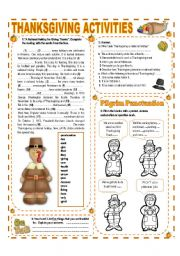 English Worksheet: NOVEMBER THEME:THANKSGIVING - ACTIVITIES WITH KEY - (3/3) - INTERMEDIATE