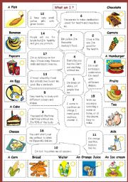 English Worksheet: What am I? (with food and drinks)