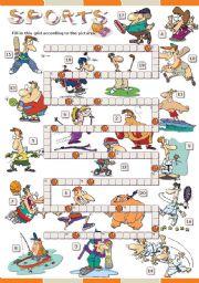 English Worksheet: SPORTS crosswords