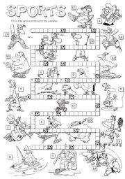 English Worksheet: SPORTS crosswords b&w version