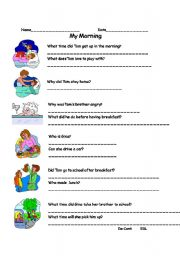 English Worksheets: My Morning - Comprehension Questions P.2